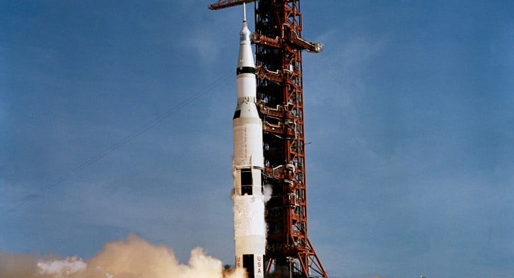 Apollo 11 aboard Saturn V rocket - July 16, 1969