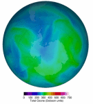 False-color view of total ozone over the Antarctic pole. The purple and blue colors are where there is the least ozone, and the yellows and reds are where there is more ozone. Feb 2021