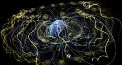 Around Earth, an invisible magnetic field traps electrons and other charged particles. NASA Goddard Space Flight Center