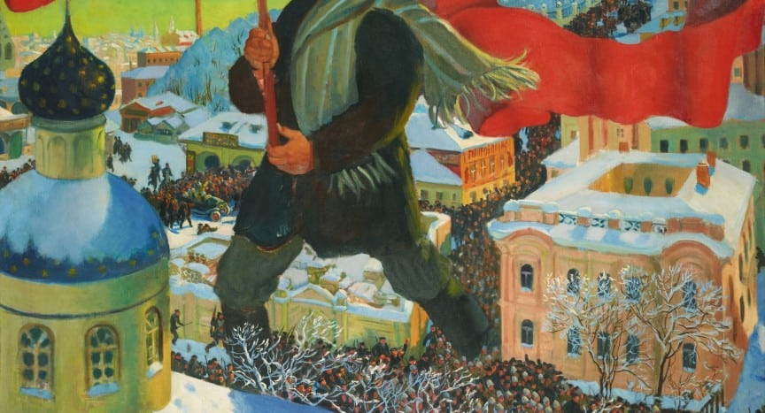 Bolshevik By Boris Kustodiev Tretyakov Gallery Public Domain Wikepedia Commons