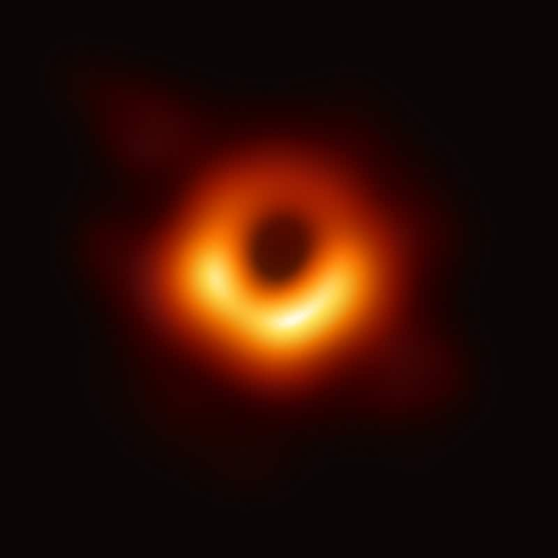 Image of a black hole and its event horizon, taken by the Event Horizon telescope in 2019