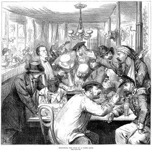 Newspaper cartoon: Discussing the War in Paris in 1870