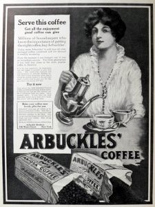 Woman pouring coffee in black and white Arbuckle coffee advertisement