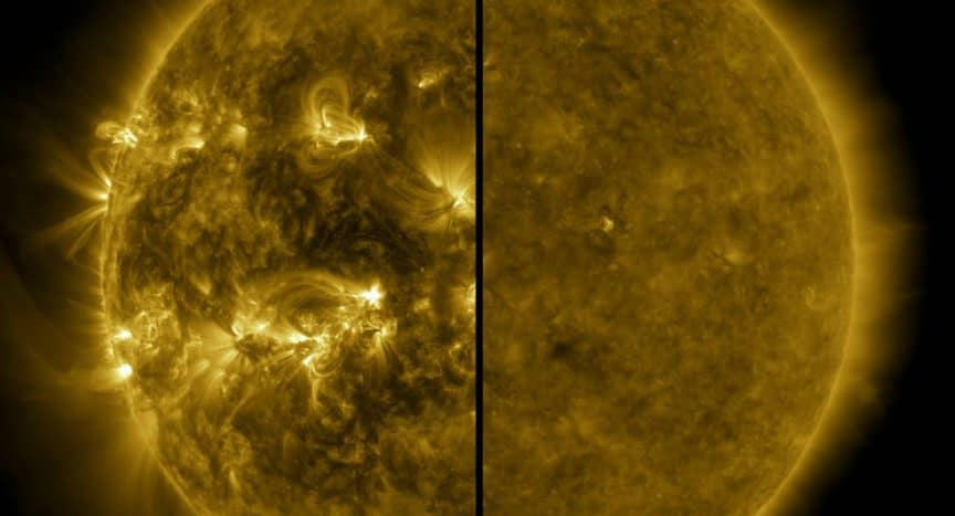 This split image shows the difference between an active Sun during solar maximum (on the left, captured in April 2014) and a quiet Sun during solar minimum (on the right, captured in December 2019). December 2019 marks the beginning of Solar Cycle 25, and the Sun's activity will once again ramp up until solar maximum, predicted for 2025. Credits: NASA/SDO