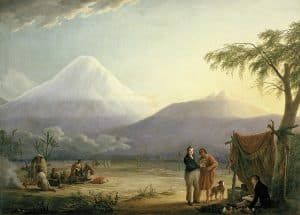 Humboldt and his fellow scientist Aimé Bonpland near the foot of the Chimborazo volcano, painting by Friedrich Georg Weitsch (1810)