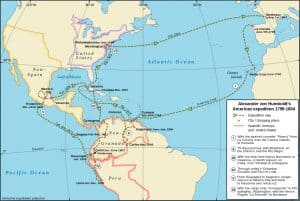 Map of Alexander von Humboldt's Latin American expedition