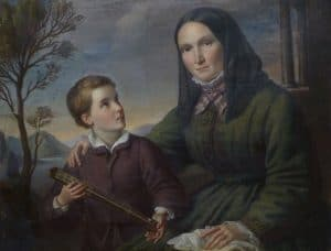 Humboldt as a boy with his widowed mother Maria Elisabeth (Colomb) von Humboldtt