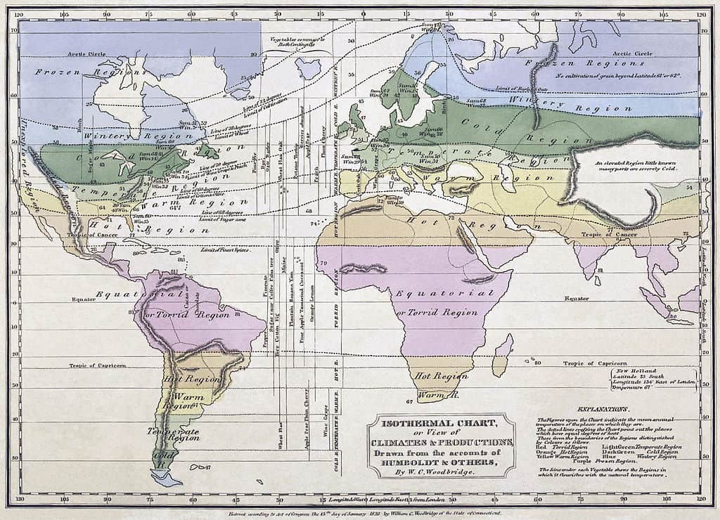 Isothermal map of the world using Humboldt's data by William Channing Woodbridge