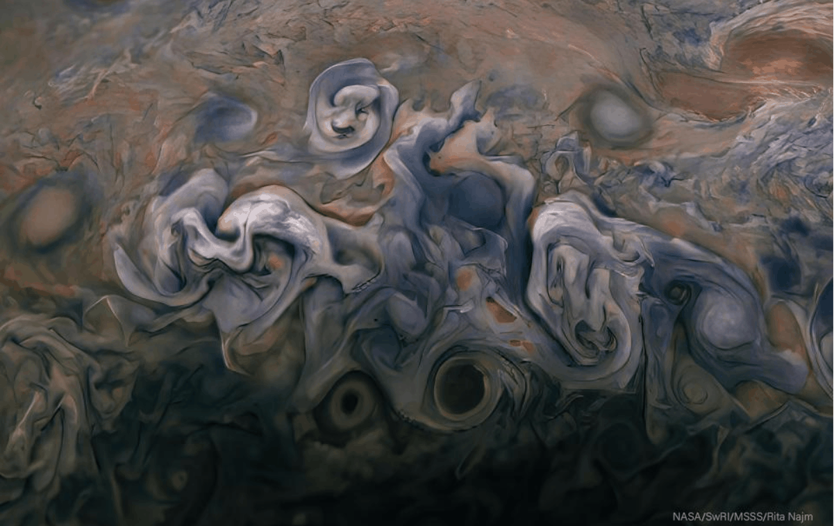 Roses on Jupiter a image from February 17 2020 processed by citizen scientist Rita Najm shows Jupiter from an altitude of about 7900 miles 12700 kilometers above the planets cloud tops NASA JPL Caltech SWRI MSSS