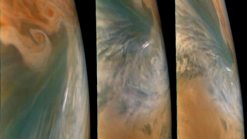 Three views of Jupiter's Cloud tops
