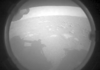 First Ever Image of Mars sent by Perseverance Rover using it onboard Front Left Hazard Avoidance Camera A.