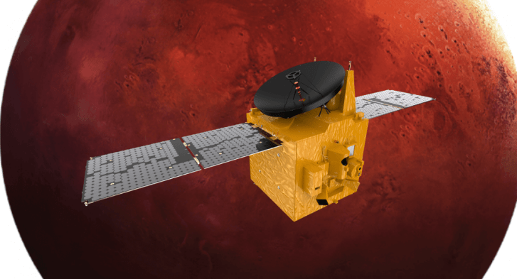 Foreground: UAE Hope Orbiter, Background Mars.